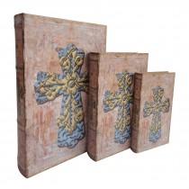 Rustic Cross Book Box (Set of 3)