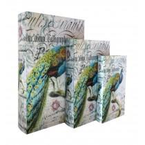 Peacock Book Box (Set of 3)