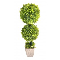36'' H Green Plastic Lited Topiary in Sivery Pot