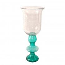 "Cyrene 15.75"" Glass Pillar Candle Holder (Turquoise)"