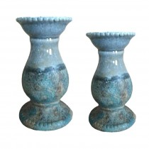 S/2 CERAMIC CANDLE HOLDER