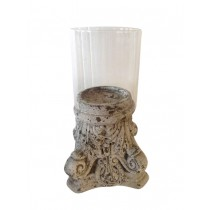 CERAMIC CANDLEHOLDER WITH GLASS