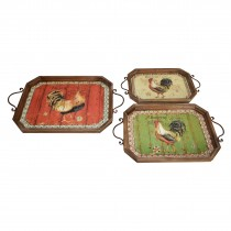 Rooster-themed Metal Tray (Set of 3)