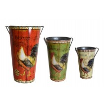 Rooster-themed Tin Plantar (Set of 3)