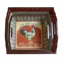 Rooster-themed Wooden Tray (Set of 3)