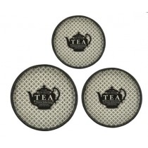 Round Tray with Teapot Pattern (Set of 3)