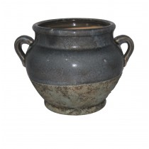 CERAMIC POT WITH TWO HANDLES
