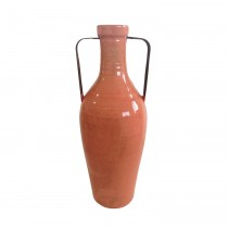Large Orange Vase with Metal Handle