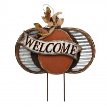 Harvest Wood Pumpkin Stake-Welcome