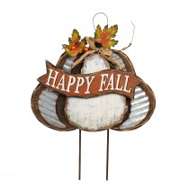Harvest Wood Pumpkin Stake-Happy Fall