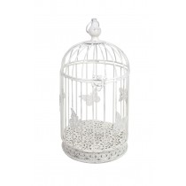 "25.5"" Cartrettes White Metal Bird Cage"