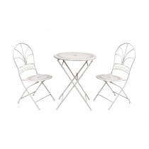 3Pcs Metal stamp white bistro set