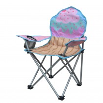 Jeco Kids Outdoor Folding Lawn and Camping Chair with Cup Holder, Cupcake Camp Chair