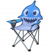 Jeco Kids Outdoor Folding Lawn and Camping Chair with Cup Holder, Shark Camp Chair