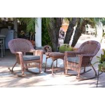 3pc Honey Rocker Wicker Chair Set With Steel Blue Cushion