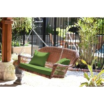 Honey Resin Wicker Porch Swing with Hunter Green Cushion