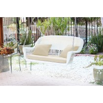 White Resin Wicker Porch Swing with Ivory Cushion