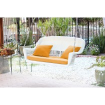 White Resin Wicker Porch Swing with Mustard Cushion