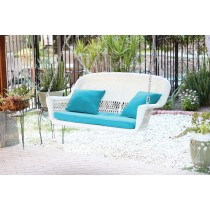 White Resin Wicker Porch Swing with Sky Blue Cushion