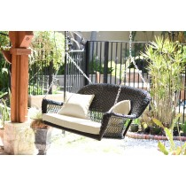 Black Resin Wicker Porch Swing with Ivory Cushion
