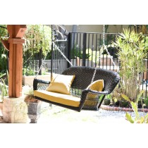 Black Resin Wicker Porch Swing with Mustard Cushion