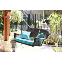 Black Resin Wicker Porch Swing with Sky Blue Cushion