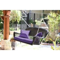 Black Resin Wicker Porch Swing with Purple Cushion