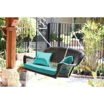 Black Resin Wicker Porch Swing with Turquoise Cushion
