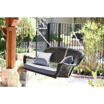 Black Resin Wicker Porch Swing with Steel Blue Cushion