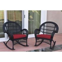 Santa Maria Black Wicker Rocker Chair with Red Cushion - Set of 2