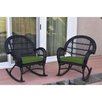 Santa Maria Black Wicker Rocker Chair with Hunter Green Cushion - Set of 2