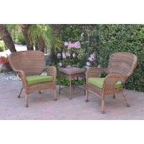 Windsor Honey Wicker Chair And End Table Set With Green Chair Cushion