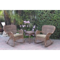 Windsor Honey Wicker Rocker Chair And End Table Set With Tan Chair Cushion