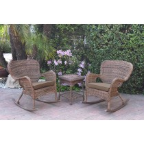 Windsor Honey Wicker Rocker Chair And End Table Set With Brown Chair Cushion