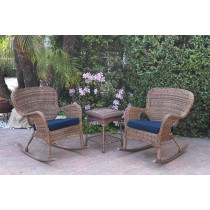 Windsor Honey Wicker Rocker Chair And End Table Set With Blue Chair Cushion