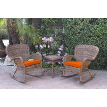 Windsor Honey Wicker Rocker Chair And End Table Set With Orange Chair Cushion