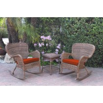 Windsor Honey Wicker Rocker Chair And End Table Set With Red Chair Cushion