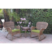 Windsor Honey Wicker Rocker Chair And End Table Set With Green Chair Cushion