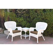 Windsor White Wicker Chair And End Table Set With Brown Chair Cushion