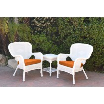 Windsor White Wicker Chair And End Table Set With Orange Chair Cushion