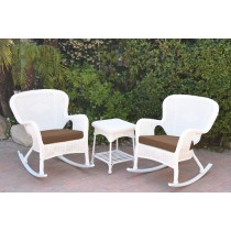 Windsor White Wicker Rocker Chair And End Table Set With Brown Chair Cushion