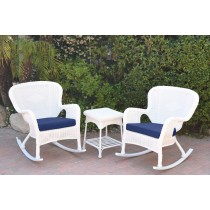 Windsor White Wicker Rocker Chair And End Table Set With Blue Chair Cushion