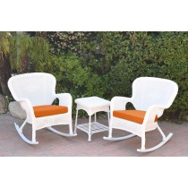 Windsor White Wicker Rocker Chair And End Table Set With Orange Chair Cushion
