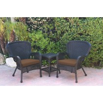 Windsor Black Wicker Chair And End Table Set With Brown Chair Cushion