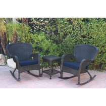 Windsor Black Wicker Rocker Chair And End Table Set With Blue Chair Cushion