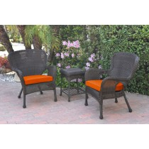 Windsor Espresso Wicker Chair And End Table Set With Orange Chair Cushion