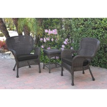 Windsor Espresso Wicker Chair And End Table Set With Black Chair Cushion