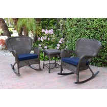 Windsor Espresso Wicker Rocker Chair And End Table Set With Blue Chair Cushion