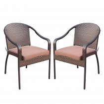 Set of 2 Cafe Curved Stacking Wicker Chairs - Brown Cushions