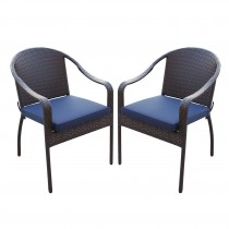 Set of 2 Cafe Curved Stacking Wicker Chairs - Midnight Blue Cushions